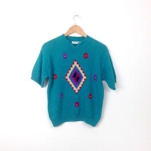 Vintage Sweaters - Aztec native american turquoise sweater T41